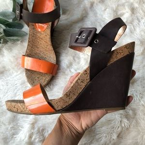 BCBGeneration orange and brown wedges with buckle